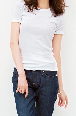 Tシャツシャツ×デニムスタイル(ウェーブ)